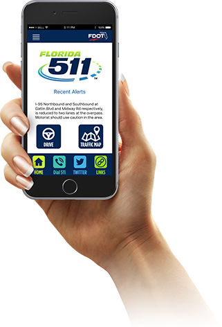Hand holding a smart phone showing the home page of the Florida 511 mobile app